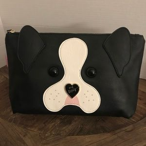 Betsey Johnson Lg Frenchie Dog Cosmetic Wristlet